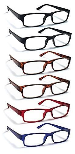 6 Pack Reading Glasses by BOOST EYEWEAR  Traditional Frames in Black  Tortoise Shell  Blue and Red  for Men and Women  with Comfort Spring loaded Hinges  Assorted Colors  6 Pairs  2 50