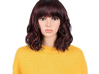 NOBlE Wigs with Bangs Ombre Wine Red Color Short Wavy Wigs with Bangs BOB Wigs for Black Women Colorful Ombre Wig for Cosplay for Party  12 inches  Wine Red