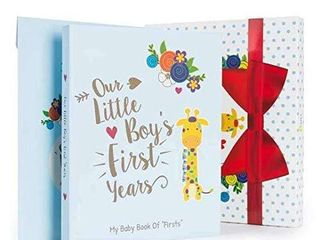 Ronica Baby Boy Gift Set with Baby Memory Book  Monthly Stickers  Modern Photo Journal and Keepsake Album for Boys  First 5 Years  Shower Gift Idea for Mom  Dad Or Grandparents