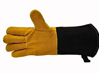 14 5  long Premium leather Gloves  BBQ gloves  Grill and Fireplace Gloves  Cotton lining with Kevlar stitch  Heat Resistant Gloves  animal handling gloves  bite proof gloves