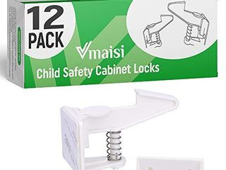 Cabinet locks Child Safety latches   Vmaisi 12 Pack Baby Proofing Cabinets Drawer lock with Adhesive Easy Installation   No Drilling or Extra Screws  White