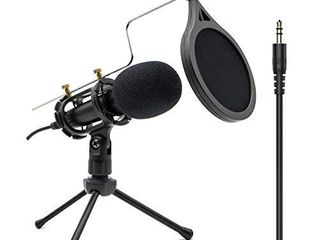 Condenser Recording Microphone 3 5mm Plug and Play PC Microphone  Broadcast Microphone for Computer Desktop laptop MAC Windows Online Chatting Podcast Skype YouTube Game