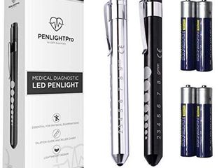 PENlIGHTPRO Medical Pen lights for Nurses Doctors  2 Sets Reusable Penlight White lED and Warm Yellow light Tactical Flashlight with Pupil Gauge and Ruler  with Replaceable Batteries  SIlVER BlACK