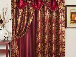 Golden Rugs Jacquard luxury Curtain Window Panel Set Curtain with Attached Valance and Backing Bedroom living Room Dining 112 X84  Each Jana Collection  Burgundy