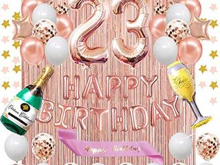 Fancypartyshop 23rd Birthday Decorations   Rose Gold Happy Birthday Banner and Sash with Number 23 Balloons latex Confetti Balloons Ideal for Girl and Women 23 Years Old Birthday Rose Gold