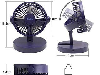 Hueliv Desk Fan USB Table Fan  Rechargeable Battery Operated Mini Foldable Cooling Fan with Strong Airflow Quiet Operation  3 Speed Head Rotatable Desktop Fan for Home Office and Bedroom