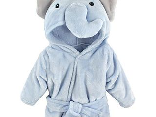 Hudson Baby Unisex Baby Plush Animal Face Robe  Blue Elephant  One Size  0 9 Months NO T FUllY INSPECTED