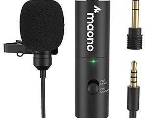 lavalier Microphone MAONO Rechargeable Omnidirectional Condenser Clip On lapel Mic with lED Indicator for Recording  Interview  Vlogging  Voice Dictation  ASMR  Camera  DSlR  Smartphone  PC  AU 100R