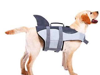 ASENKU Ripstop Dog life Jacket Pet life Water Vest with Rescue Handle life Safety Saver Preserver for Small Medium large Dogs