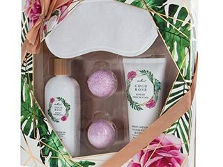 Relaxing Spa Gift Set with Sleep Mask   5 Piece Home Bath Set with Bath Bombs  Body lotion  Shower Gel   Coconut Rose Aromatherapy Stress Relief   Gift Box Set