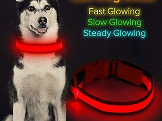 HiGuard lED Dog Collar  USB Rechargeable light Up Glowing Pet Collar  Comfortable Soft Mesh Safety Dog Collar for Small  Medium  large Dogs  Medium Collar 14 20  inch   35 5 51cm  Ruby Red