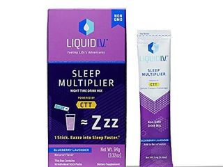 liquid I V  Sleep  Clean Sleep Support  Fast Acting  Natural Melatonin  l theanine  Valerian Root  Sleep Aid  Blueberry lavender  10