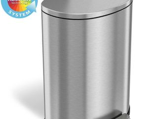 iTouchless   SoftStep 13 2 Gal  Half Round Trash Can   Silver