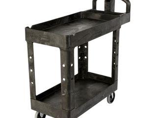 Rubbermaid Commercial FG452088BlA Heavy Duty Service Cart with lipped Shelves  Medium  Black