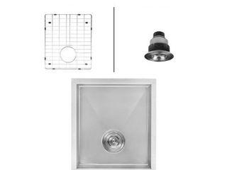 Ruvati Nesta 16  Undermount Single Basin 16 Gauge Stainless Steel Kitchen Sink with Basin Rack and Basket Strainer
