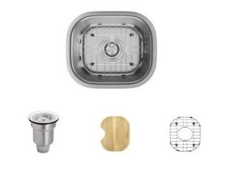 Rene 15  Undermount Single Basin Stainless Steel Bar Sink with Basin Rack  Basket Strainer  and Cutting Board