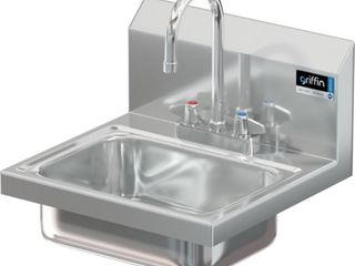 Griffin H30 224C Hand Wash Wall Mounted Sink with Faucet  Stainless Steel