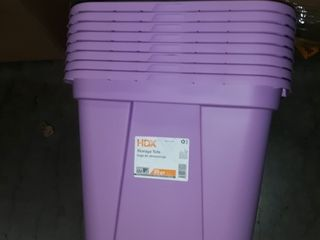 Case of 8  20 Gallon Durable Construction Molded in Handles Tote Box  Steel  lilac