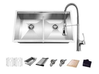 Glacier Bay All in One Undermount Stainless Steel 33 in  50 50 Double Bowl Workstation Kitchen Sink with Faucet and Accessories  Brushed Stainless Steel