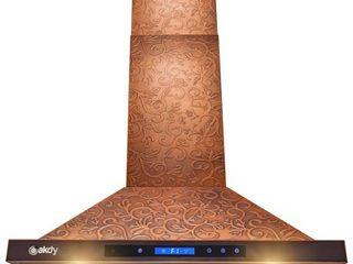 AKDY 30a Island Mount Kitchen Range Hood Elegant Vine Design