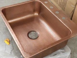 Sinkology Seurat Drop in Handmade Pure Solid Copper 15 in  4 Hole Bar Copper Sink in Antique Copper