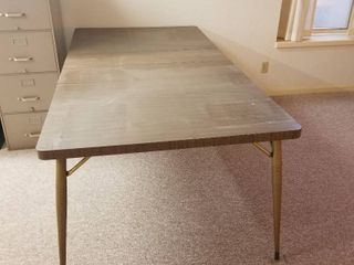 Metal table 82 1 2x 42  with 2 leaves 12  each