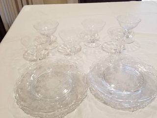 Assorted etched plates and glasses 14 pc