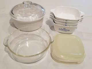 Assorted Corning Ware and Pyrex dishes