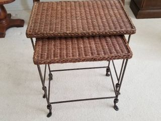 Set of 2 Caine nesting tables 22 1 2 x 22 1 2 x 14  tallest