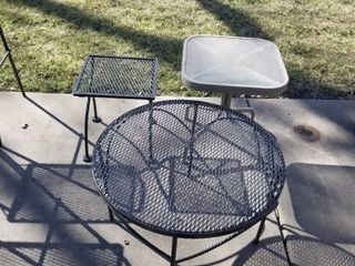 2 wrought iron tables and small table