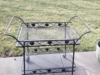 Wrought iron serving cart on rollers 30 x 32 x 17
