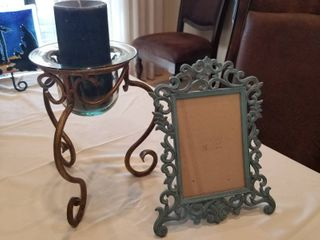 Candle holder  candle and picture frame
