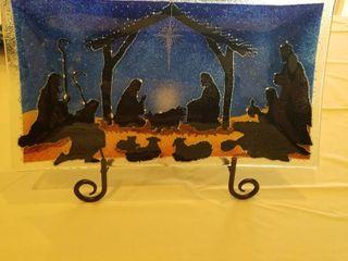 Peggy Karr glass Christmas plate on stamd