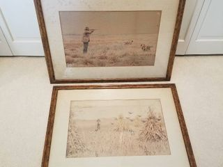 Kennedy Galleries hunting prints approx 24 x 20