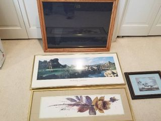 Assorted framed pictures and a picture frame