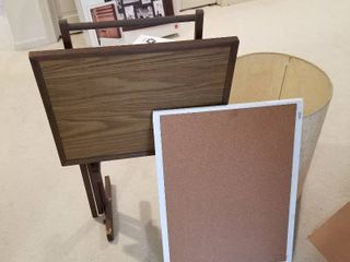 Cork  board  TV stand and lampshade  19 tall