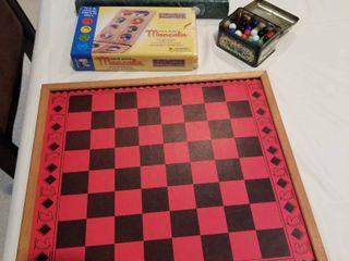 2 games  marbles and checker board