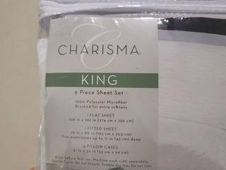 Charisma 6 Piece Extra Soft Microfiber Sheet Set  King Size  Tracks Pearl  gray