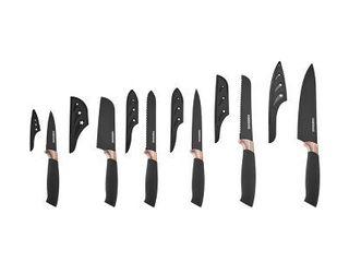 Farberware 12 Piece Soft Grip Knife Set  Black and Copper