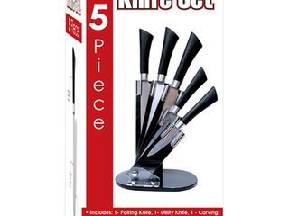 5 Piece Stainless Steel Knife Set   Stand  Pack of 6