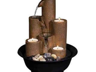 Alpine Corporation 11  Pouring Tiers Tabletop Fountain with 3 Candles