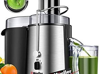 Mueller Austria Juicer Ultra 1100W Power  Easy Clean Extractor Press Centrifugal Juicing Machine  Wide 3  Feed Chute for Whole Fruit Vegetable  Anti drip  High Quality  large  Silver
