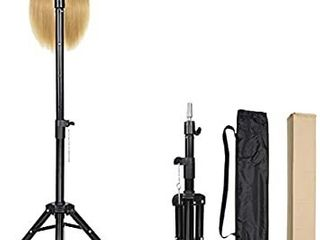 Alileader Wig Stand Tripod Mannequin Head Stand Heavy Duty Wig Stand Tripod Mannequin Stand Wig Stand for Styling Tripod for Mannequin Heads Black Maximum Height 50Inches Mannequin Head Not Included