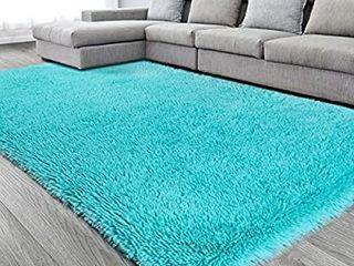 Blue Soft Area Rug for Bedroom 6x9 6 ft Turquoise Rug Fluffy Rug Shag Carpet for living Room Furry Rug for Girls Boys Room