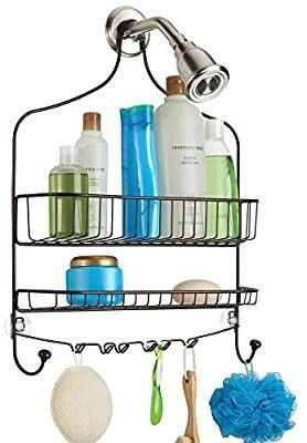 mDesign Metal Wire Tub   Shower Caddy  Hanging Storage Organizer Center with Built in Hooks and Baskets on 2 levels for Shampoo  Body Wash  loofahs   Bronze