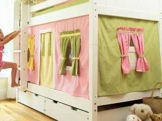 Maxtrix Velcro Bunk Bed Curtains   Pink  Yellow  Green