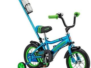 Schwinn Grit and Petunia Steerable Kids Bike  Boys and Girls Beginner Bicycle  12 Inch Wheels  Training Wheels  Easily Removed Parent Push Handle with Water Bottle Holder  Multiple Colors