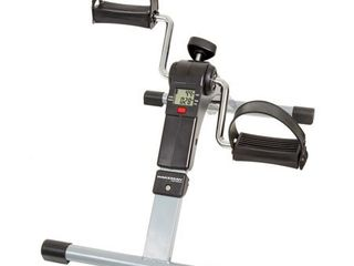 Portable Folding Fitness Pedal Stationary Under Desk Indoor Exercise Bike with Calorie Counter by Wakeman