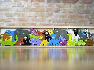 BeginAgain Animal Parade A to Z Puzzle and Playset   Educational Wooden Alphabet Puzzle   2 and Up