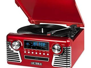 Victrola 50 s Retro Bluetooth Record Player   Multimedia Center with Built in Speakers   3 Speed Turntable  CD Player  AM FM Radio   Vinyl to MP3 Recording   Wireless Music Streaming   Red